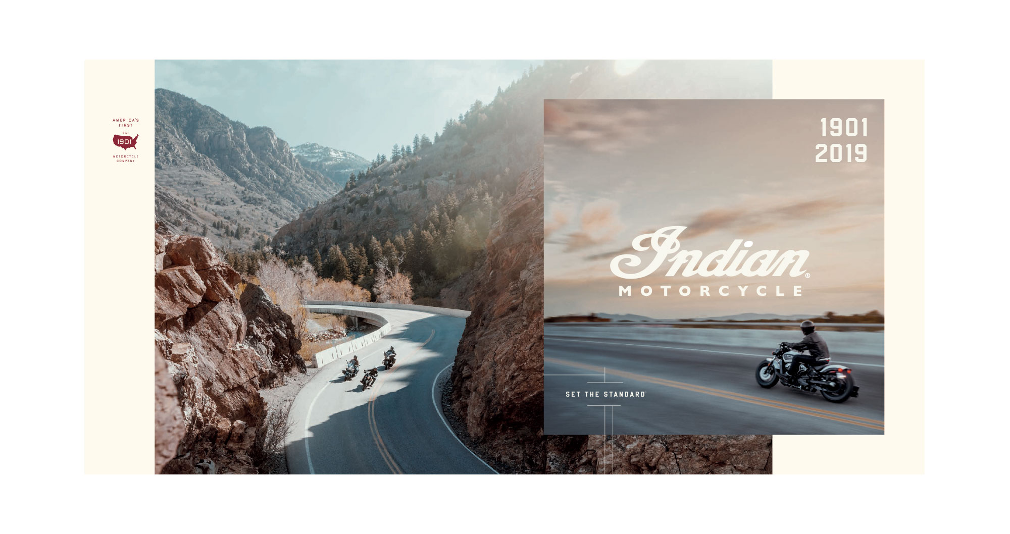 indian motorcycle scout riding through mountain pass catalog-cover-branding